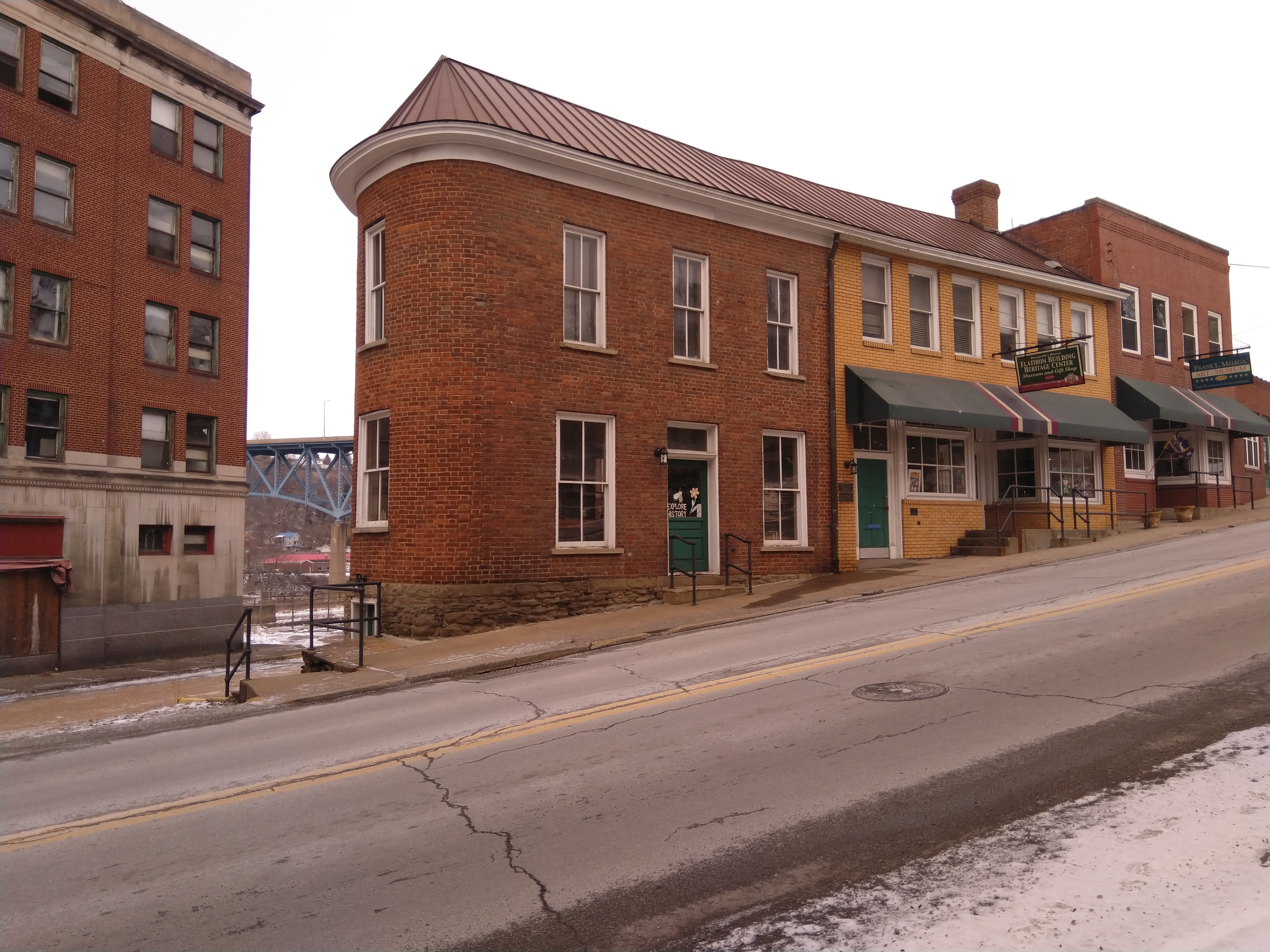 A view of the historic Flatiron Building, Brownsville, PA
